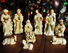 USED CHRISTMAS HOLIDAY NATIVITY SET 11 PC GOLD GLITTER 9 TALLEST FIGURE MIRROR