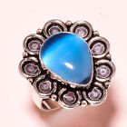 Blue Cats Eye Gemstone 925 Sterling Silver Ring 675 2389
