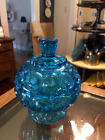 Vintage L.E. Smith depression glass moon and stars blue lidded candy dish