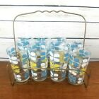 Vintage Glasses Set of 8 Yellow Blue Mid Century Retro Metal Carrier Rack