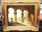 Vintage Oil Painting w/Gold Gilt Ornate Wood Picture Frame Large 33 x 29 Roman