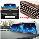 New Car Rear Window Blue Flame Flaming Skull Sticker Graphic for SUV Pickup Jeep