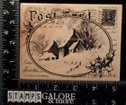 STAMPENDOUS USED RUBBER STAMPS CHRISTMAS R143 SNOW POSTCARD HOUSE HOLLY SNOW