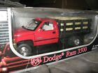 1 18 ANSON DODGE RAM 3500 RED  BLACK DUMP STAKE BED TRUCK W 24 REAL HAY BALES