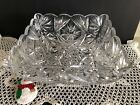 Vintage AB to clear crystal square footed fruit bowl center piece bowl