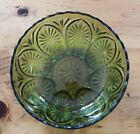 Vintage Green Cut Glass Fruit Bowl Starburst Bottom Unmarked