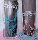 Vintage JUICE Drinking Glass Turquoise Blue AND Pink Wheat Design 2 Sizes Set *