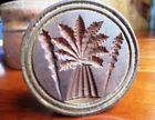 Antique 1800's HOLIDAY BUTTER MOLD PRESS Wheat Sheath w/ Side Wreaths 1 lb. ELM