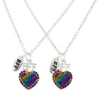 Lux Accessories Silver Tone Gay Pride Heart BFF Best Friends Necklace Set 2PC