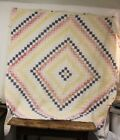 Antique Hand Stitched Cutter Quilt ~ Lots Of Wear ~ Very Primitive 73