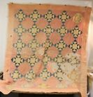 Antique Hand Stitched Cutter Quilt ~ Lots Of Wear ~ Very Primitive 81