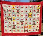 Bow Tie Print Quilt Patchwork Hand Quilted Twin Red Trim Underground Railroad