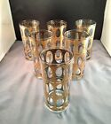 6 Vintage Culver Pisa Highball Glasses, 22K Gold Embossed With Green Underlay