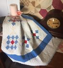 Antique Vintage Old Americana Red Blue Nine Patch Early Patchwork Quilt Piece #7