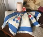 Antique Vintage Old Americana Red Blue Nine Patch Early Patchwork Quilt Piece #8