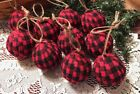 10 BUFFALO Christmas Plaid Fabric Rag Balls Farmhouse Primitive Ornaments