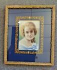 Old Original Pastel Portrait in Antique Ornate Gold Frame w Brass Mat Surround
