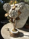 RARE old vnt Metal Italian Tole WHITE GOLD HYDRANGEAS flower floral Table Lamp