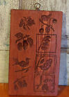Primitive Antique Carved Wood Springerle Cookie Mold 8 Design Fruits Bird