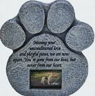 Dog Memorial Paw Print Pet Memorial Stone Features a Photo Frame