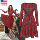 US!Womens XMAS Scottish Vintage Red Plaid Long Sleeve Evening Party Dinner Dress