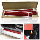 4PCS Car Red Door Sill Scuff Welcome Pedal Protect 4D Carbon Fiber Stickers