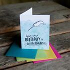 Hope your birthday is extraordinary letterpress printed hand drawn narwhal