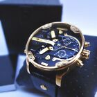 ✔ New DIESEL Men's Mr.Daddy 2.0 Gold Ion-Plated Leather Strap Watch DZ7371
