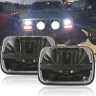 Pair 5X7 7x6inch LED Clear Projector Headlight For Jeep Cherokee XJ YJ Ford GMC