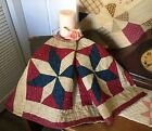 Antique Vintage Old 1800s Early Americana Red Blue Star Patchwork Quilt Piece #7