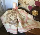 Antique Vintage Old Lone Star Diamonds Early Tattered Prints Quilt Piece #6