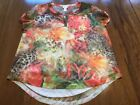 CHICOS LEOPARD  FLORAL PINK GREEN WHITE BUTTON SLEEVE TOP SIZE 1 PETITE