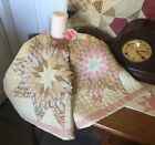 Antique Vintage Old Lone Star Diamonds Early Tattered Prints Quilt Piece #3