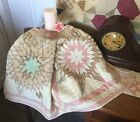 Antique Vintage Old Lone Star Diamonds Early Tattered Prints Quilt Piece #2