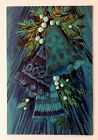 Vintage Rust Craft Christmas Card Blue Bell Mid Century Art Holly Gold Teal Aqua