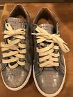 NWT Donald J Pliner 75 Mens Crocodile Leather Sneakers Tennis Shoes Blue