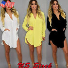 US SIZE Womens Oversize Loose T Shirt Top Casual Long Sleeve Blouse Dress S-5XL