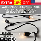 1/2/3pcs 14.6m Outdoor Patio String Lights Fairy Party Christmas Wedding Vintage