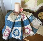 's Indigo Faded Early Eight Point Star Quilt Piece #1