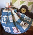 's Indigo Faded Early Eight Point Star Quilt Piece #3