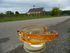 Mid Century Modern Chalet Art Glass Free Form Stretch Amber Yellow Clear Signed