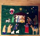 Vntg Nativity Tapestry Christmas Scene Wall Hanging 28 X 36 Trapunto Applique
