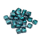 20pcs Handmade Lampwork Glass Beads Square Loose Spacers Teal Silver Foil 12mm