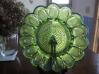 Green Hobnail Carnival Iridescent Vtg Glass Deviled Egg Relish Plate