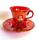 Vtg MURANO ITALIAN Hand Painted Enameled RUBY GLASS DEMITASSE CUP