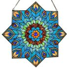 Multi-Colored Tiffany Style Stained Glass Peacock Star Window Panel