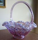 Fenton 1990s Lavender Opalescent LILY OF THE VALLEY Glass Basket  So pretty
