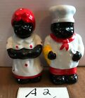 Black AmericanaMammy 4 salt and pepper shakers small defects in paint