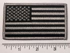 American Flag GREY Embroidered Patch 35x2 Patriotic Pride USA GRAY