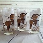 Vintage Mid Century Libbey Canada Geese Goose Game Bird Tumbler Glasses Set of 3